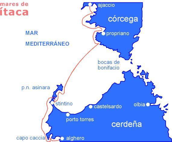 Resultado de imagen de MAPA Travesía en ferry de Cerdeña a Córcega BONIFACIO